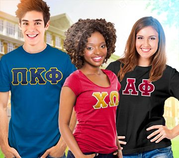 Fraternity and Sorority letter t shirt from $24